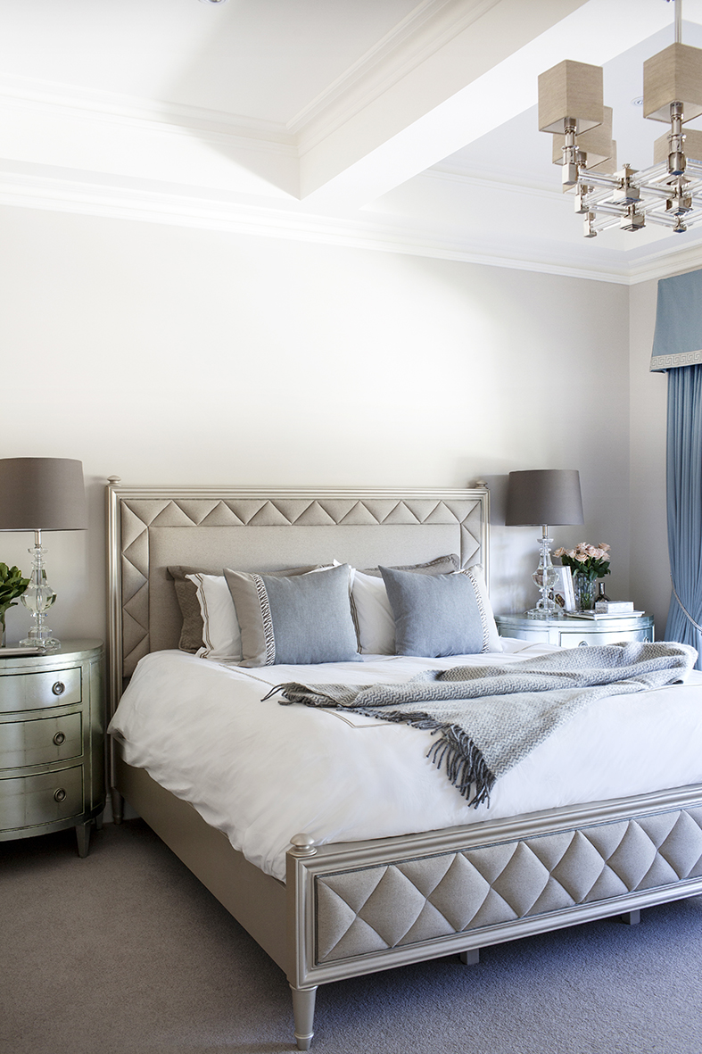 A classic american bedroom in the perfect pale blue for American bedroom