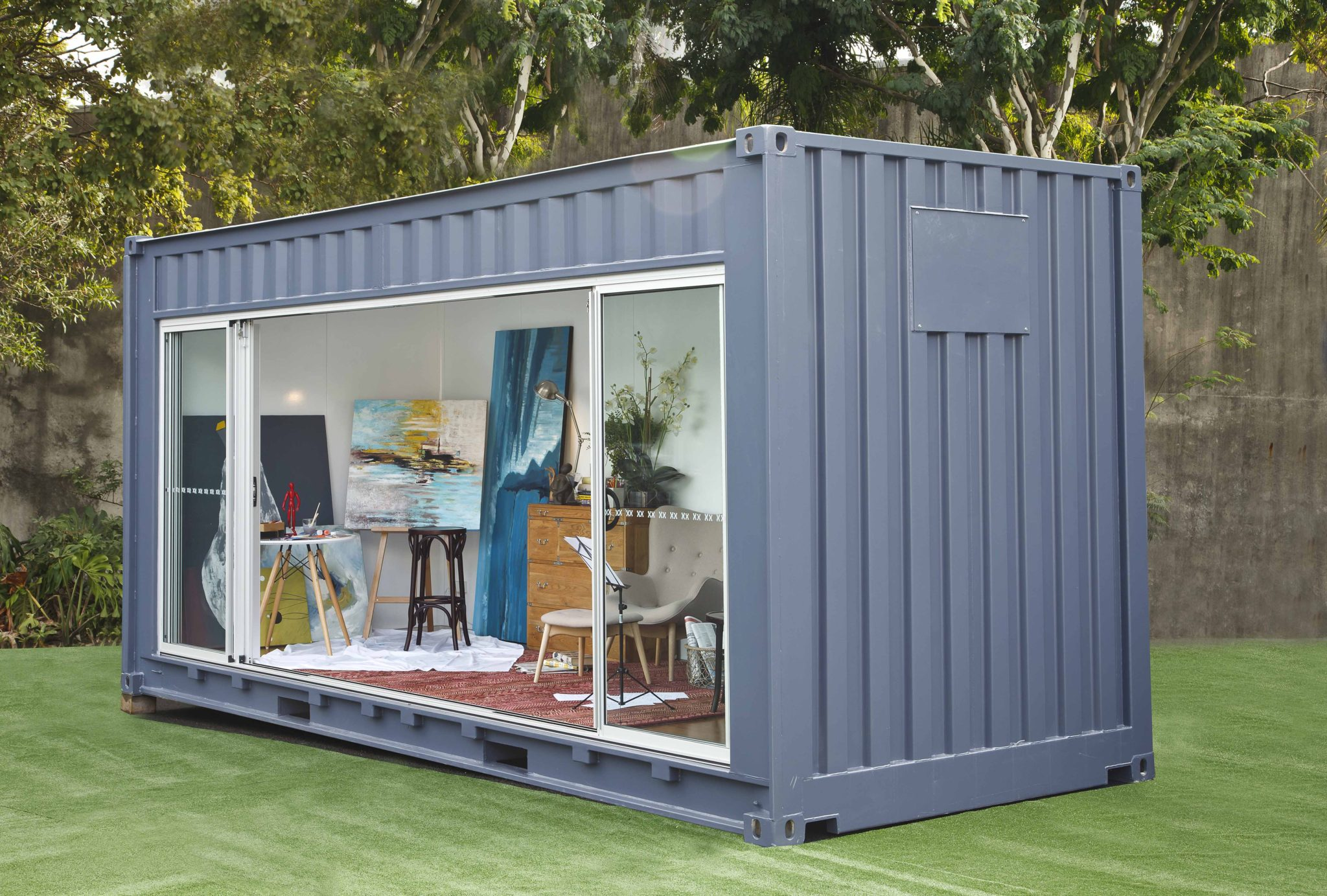 need extra room rent a shipping container for your backyard the interiors addict. Black Bedroom Furniture Sets. Home Design Ideas