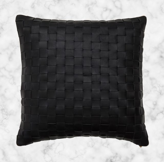 Black-Leather-Woven-Cushion