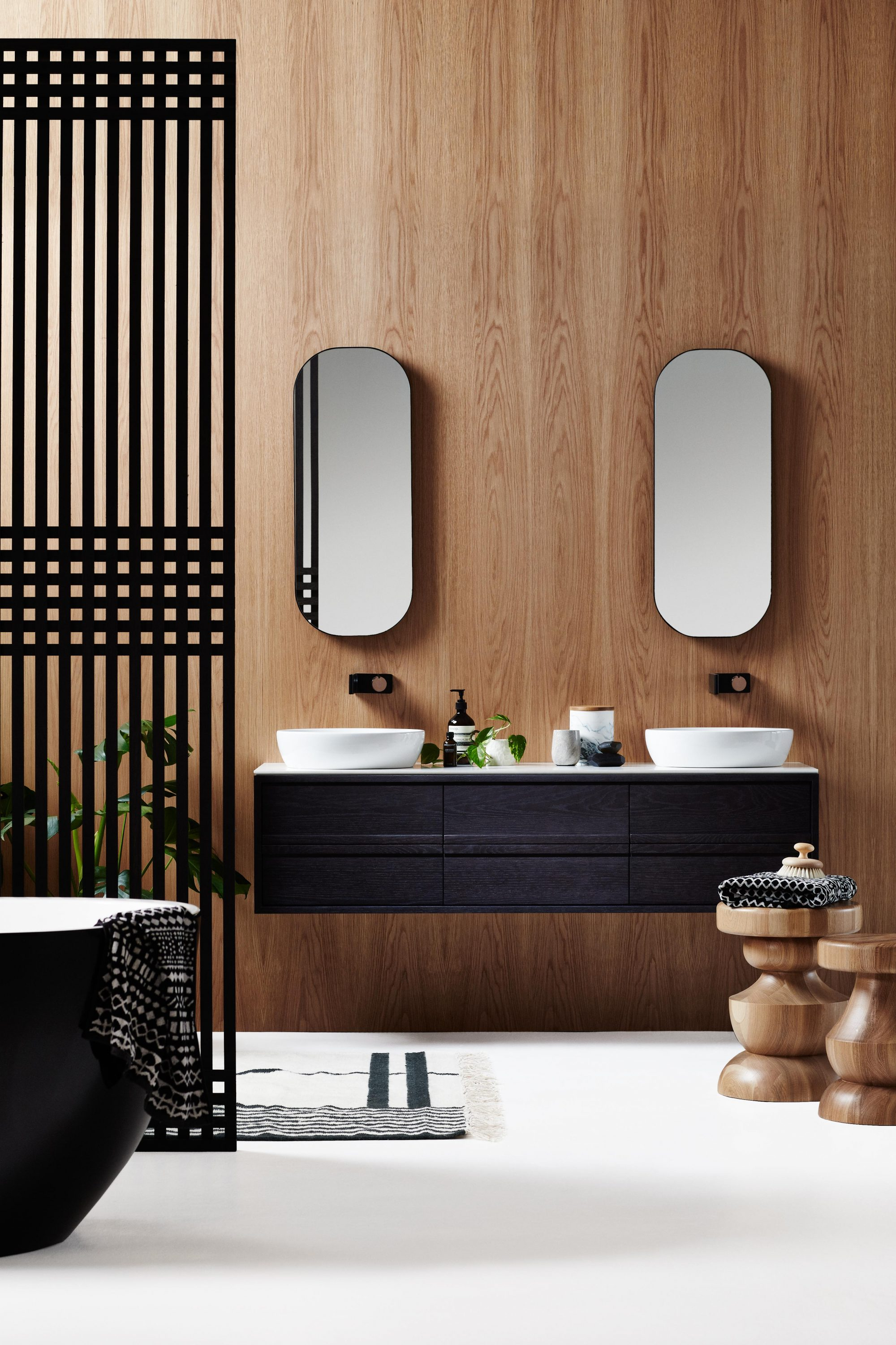 Stunning ISSY Z Drawer Vanity and ISSY Z Oval Mirror in situ front uc