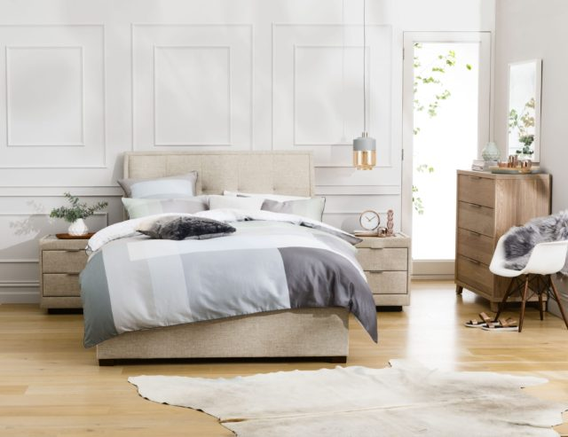 Nice Highlights include Geo a tasteful Solid Victorian Ash and veneer blend featuring built in shelving and Accent Luxe a beautifully upholstered bed frame