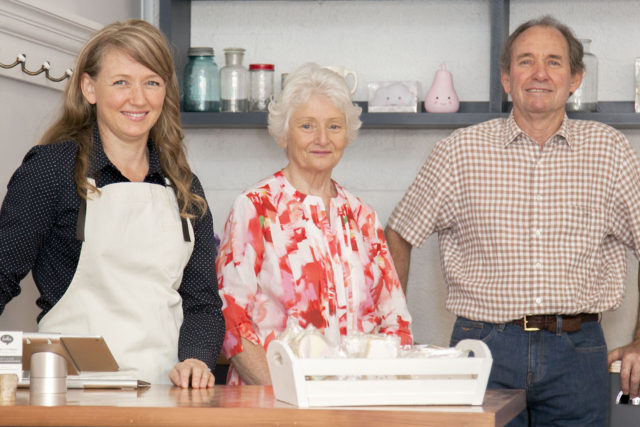 Rebecca with dad (and business partner) Russell and mum Veronica in her shop