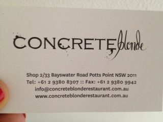 Check out Concrete Blonde for amazing food and a stylish interior