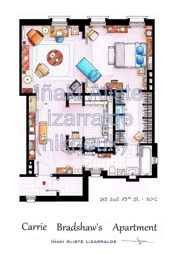 Who Wants A Hand Drawn Floorplan Of Carrie Bradshaw Or Frasier S Apartment The Interiors Addict