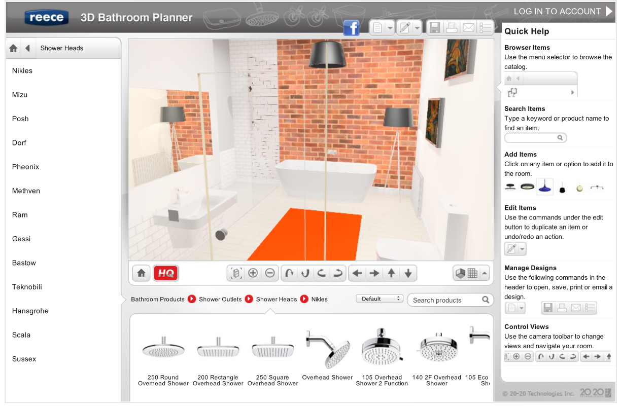 New easy online 3d bathroom planner lets you design for Bathroom tile planner