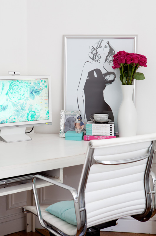 Kerrie's home office in Paris was in the corner of her bedroom, but it was a  sacrifice she was happy to make!