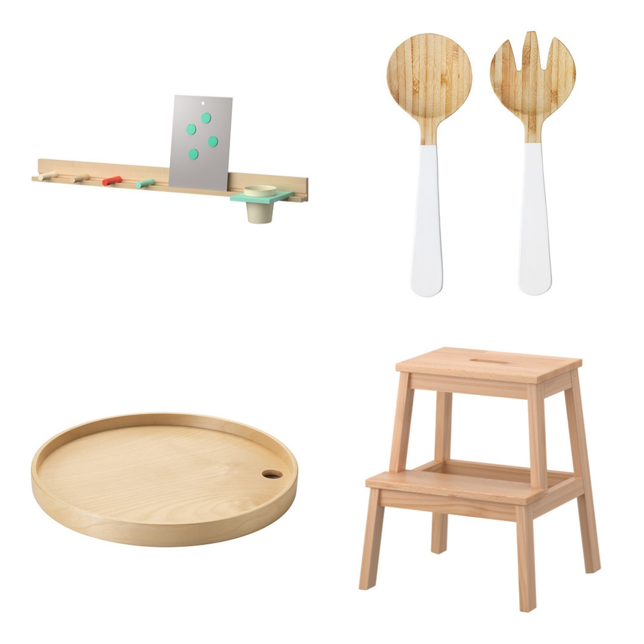 Clockwise From Top Left: IKEA PS 2014 Wall Rail ($44.99), GRIPANDE 2 Piece  Salad Servers Set ($6.99), BEKVÄM Step Stool ($14.99), IKEA PS 2014 Tray  ($15)