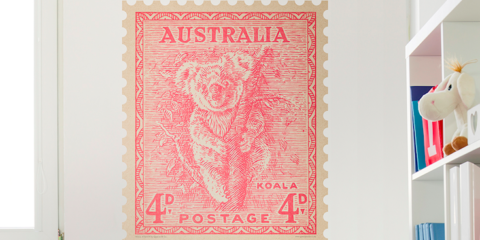 Giant, self-adhesive vintage stamps as art from Quercus & Co