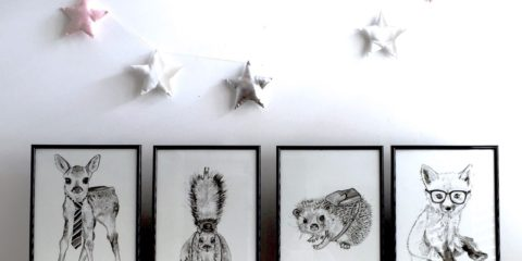 Hipster wildlife art for kids' rooms from Bon Maxie