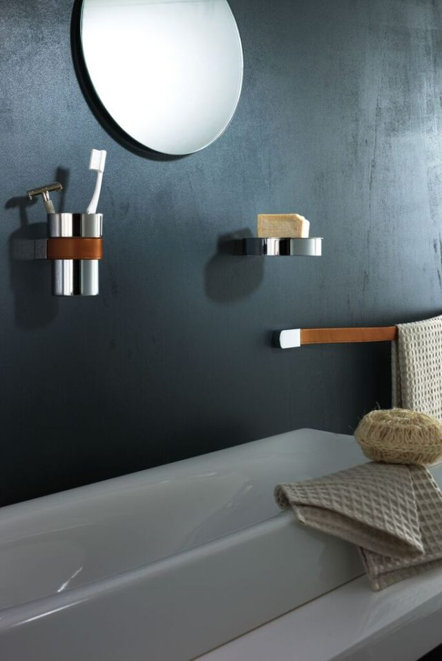 Charmant The Leather Accents Are Available In Black Or Brown And The Range Includes  A Towel Rail, Tumbler Holder, Shelf, Soap Holder, Paper Holders, Robe Hooks  And A ...