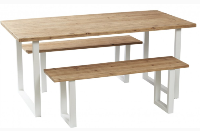 Nice IKEA INGATORP LMSTA table and four chairs This round turned wood dining table extends to seat six should the occasion require it