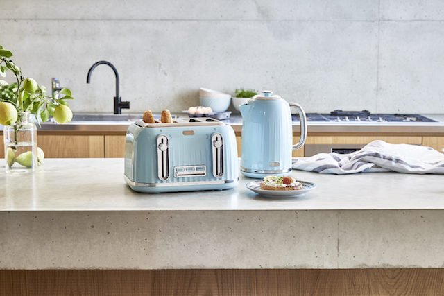 U201cOur New Baby Blue Euro Four Slice Kettle And Toaster, For Only $39 Each,  Are A Great Addition To The Kitchen,u201d Says Julie.