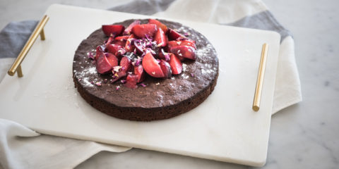 Foodie Friday: Chocolate cake with stewed blood plums