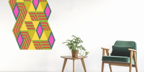 Large scale geometric art for the floor, wall and ceiling