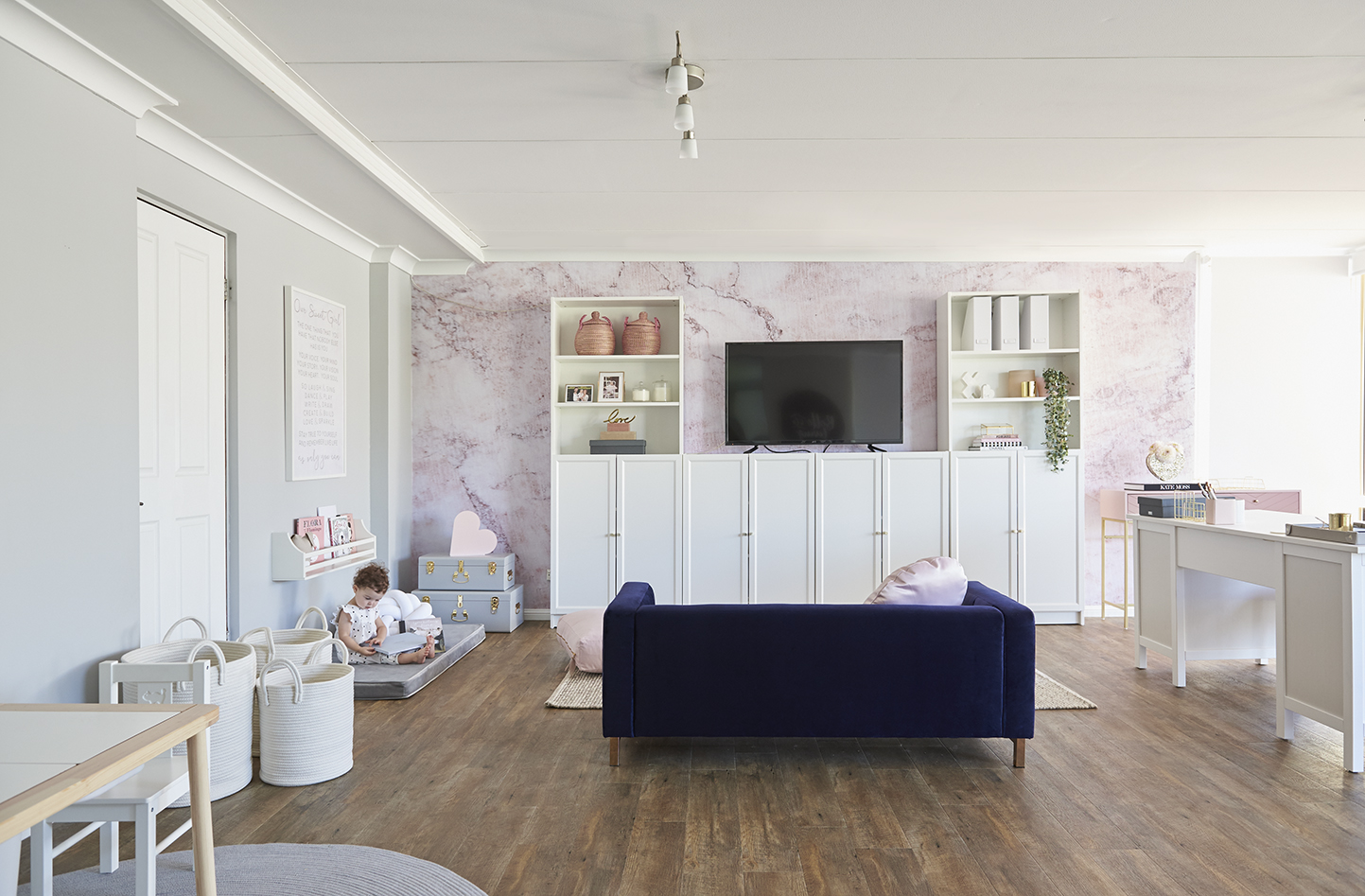 Design feat a super stylish combined office playroom for Office playroom