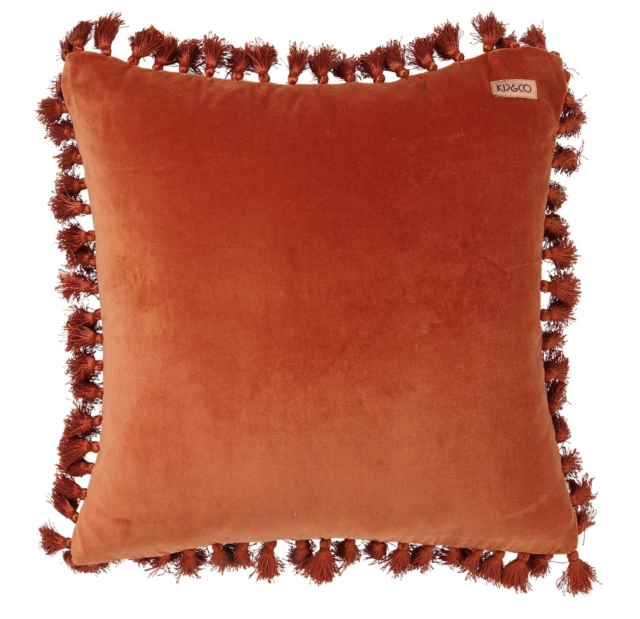 Kip & Co velvet cushion with fringing