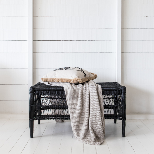 Malawi open weave rectangle bench in black