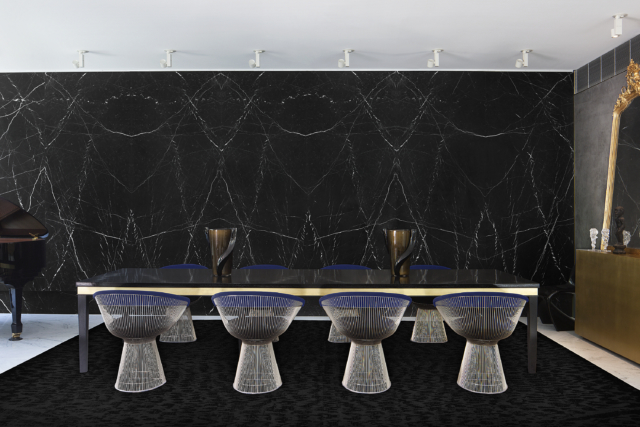 The Domain St project features the rarenero marquina marble too