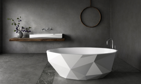 The apaiser Kelly Hoppen Bijoux integrated basin and free-standing bath
