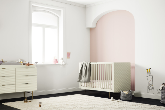 The West Elm x Pottery Barn Kids collection Audrey cot - the brass and geometric details are divine!