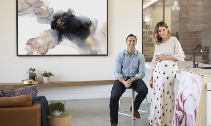 Clint and Hannah with their favourite piece from the collection, 'Make me blush'