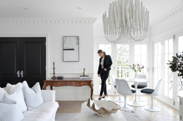 Modern space styled with antiques