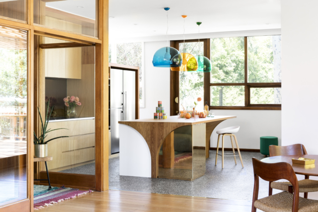 The kitchen bench profile echoes a lamb chop