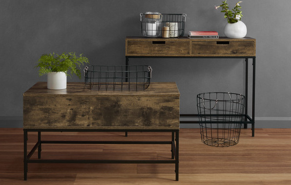 Industrial console and coffee table
