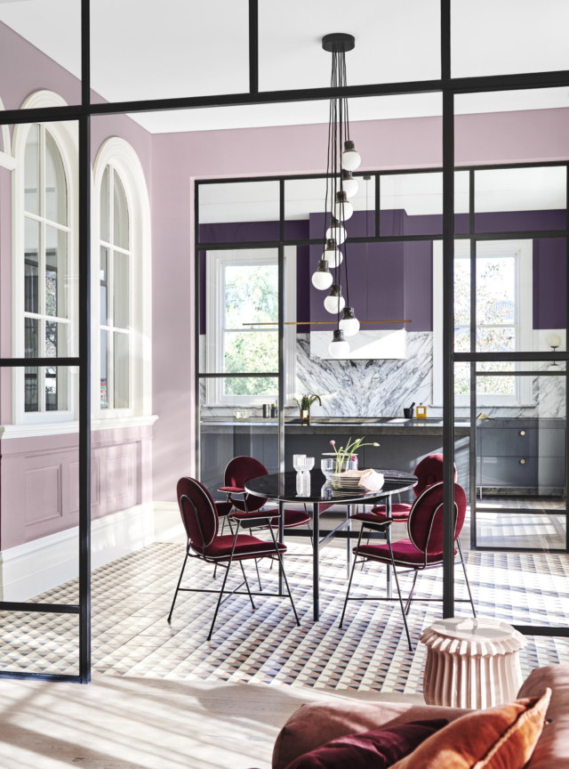 Paint featured: Wall (front) in Dulux 'Legendary Lilac,' Wall (rear) in 'Purple Verbena' and ceiling in 'Lexicon Half'