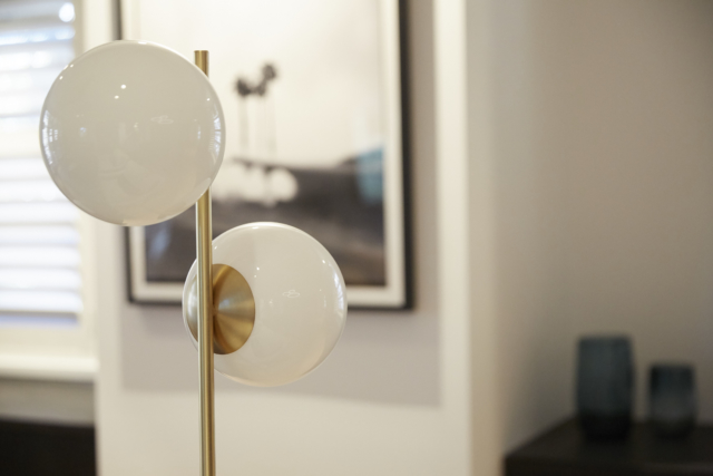 The gorgeous floor lamp was a highlight of the space