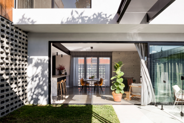 The dining room connects directly with the outdoors