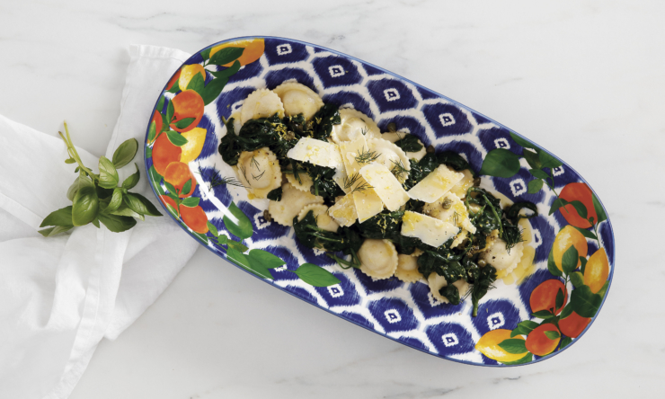 Ravioli with lemon butter and greens