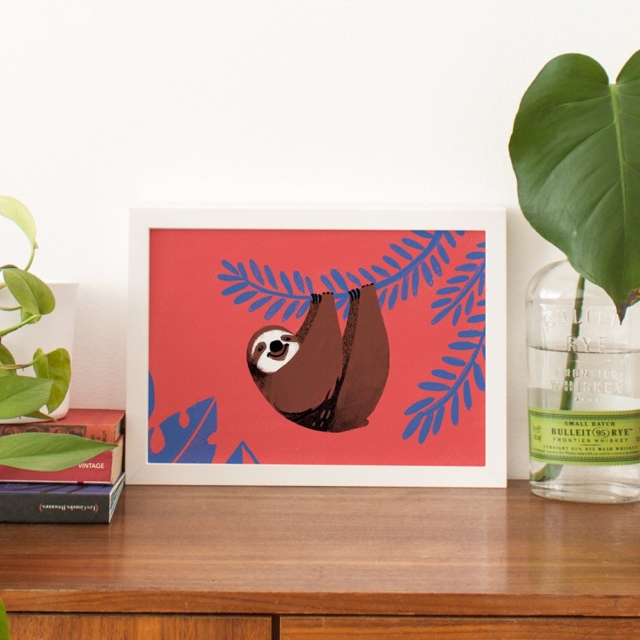Carolina Buzio 'Happy Sloth' medium art print, $19