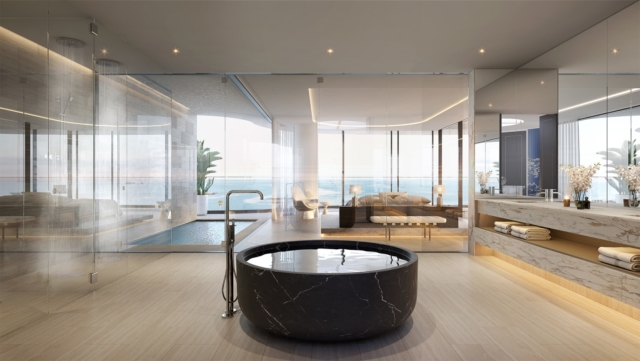 Penthouse bathroom and bedroom