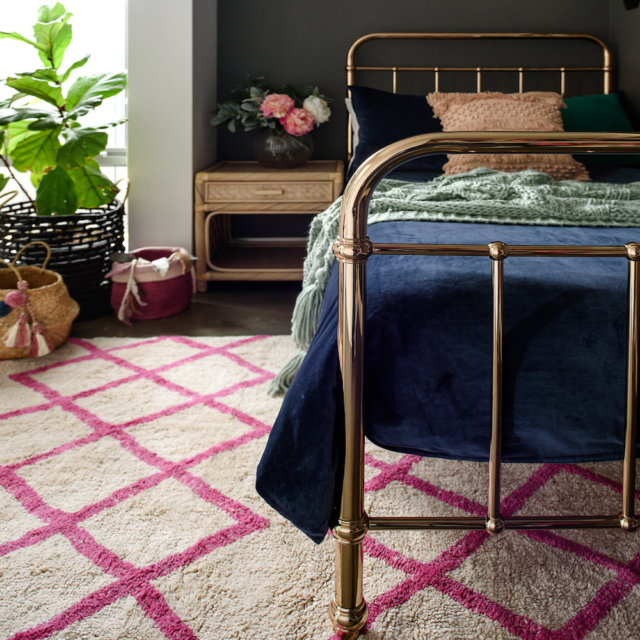 Cotton Berber rug in pink, from $349