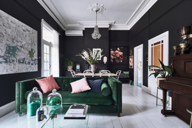 Stylist Heather Nette King made a statement with Dulux Domino in her lounge room
