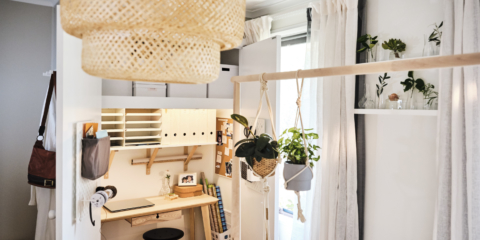 AFTER The wardrobe now houses a compact home office