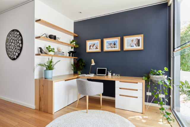 Formerly an unused space, Jessica created an office area at the entry to the home
