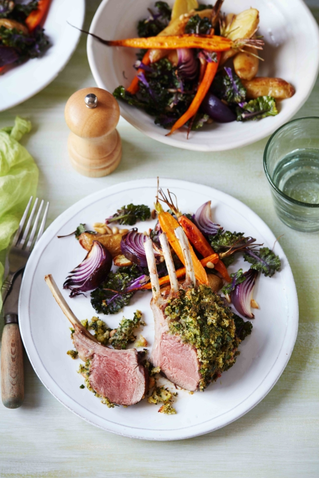 Herb crusted lamb racks with chargrilled vegetable salad