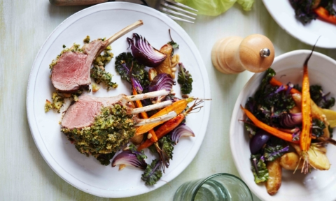 Herb crusted lamb racks
