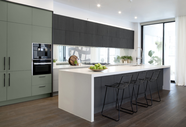 Freedom Kitchens' new 'Green Slate' cabinet fronts