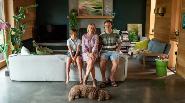 Julia Green with her two boys. Image: Sarah Woods for The Grace Tales