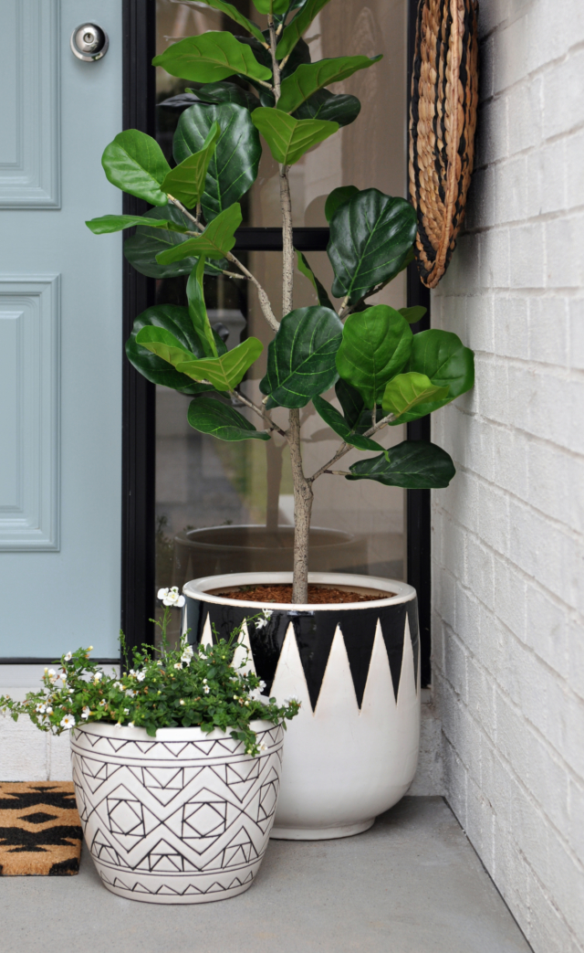 AFTER faux plants and stylish pots now accessorise the front door