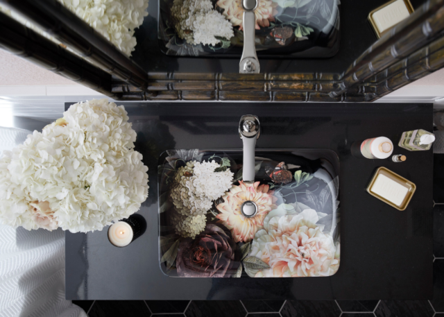 The Dutchmaster Blush Floral sink collection comes in a rectangle shape