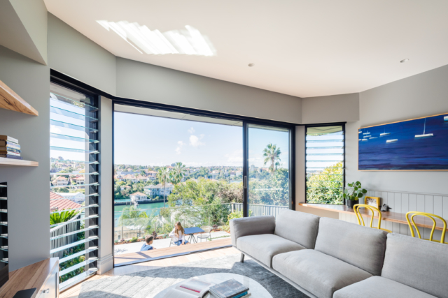 The rear of the home now boasts stunning harbour views