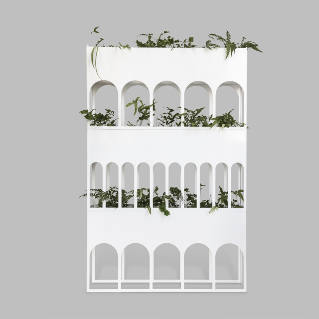 'Object' finalist Manuel Canestrini's 'Colonnade' is a metal stackable indoor planter box that is inspired by ancient roman aqueducts.