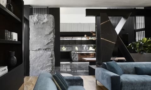 Large and beautiful rock features in the lounge room