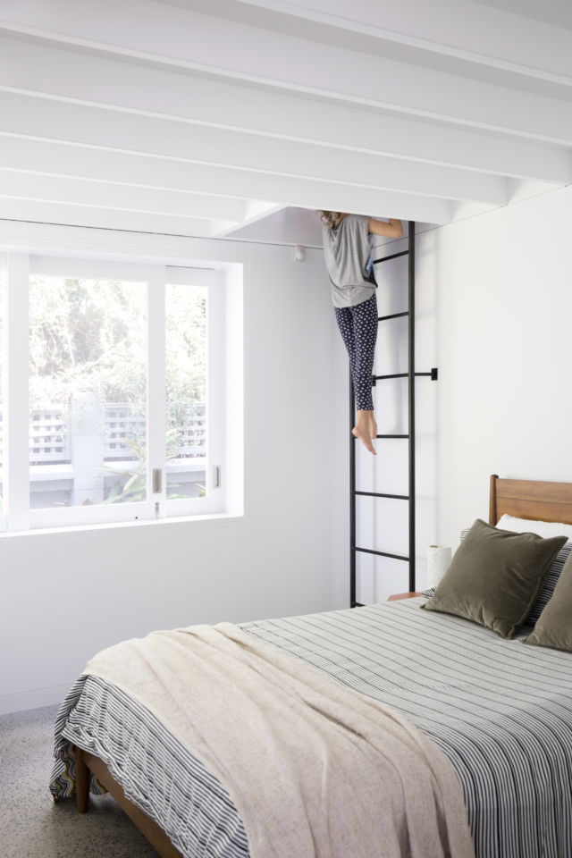 The loft space is accessed from the bedroom