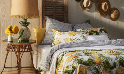 Logan & Mason 'Lemon Zest' quilt cover. Styling by Adam Powell and photography by Nathan Hendry