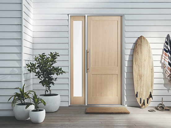 entrance door range features a light American white oak veneer that is the perfect canvas for paint or a timber stain